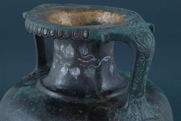Bronze Amphora With Silver Ivy Wreath